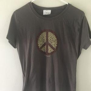 Dark Grey Disney Mickey Mouse Peace Sign Shirt